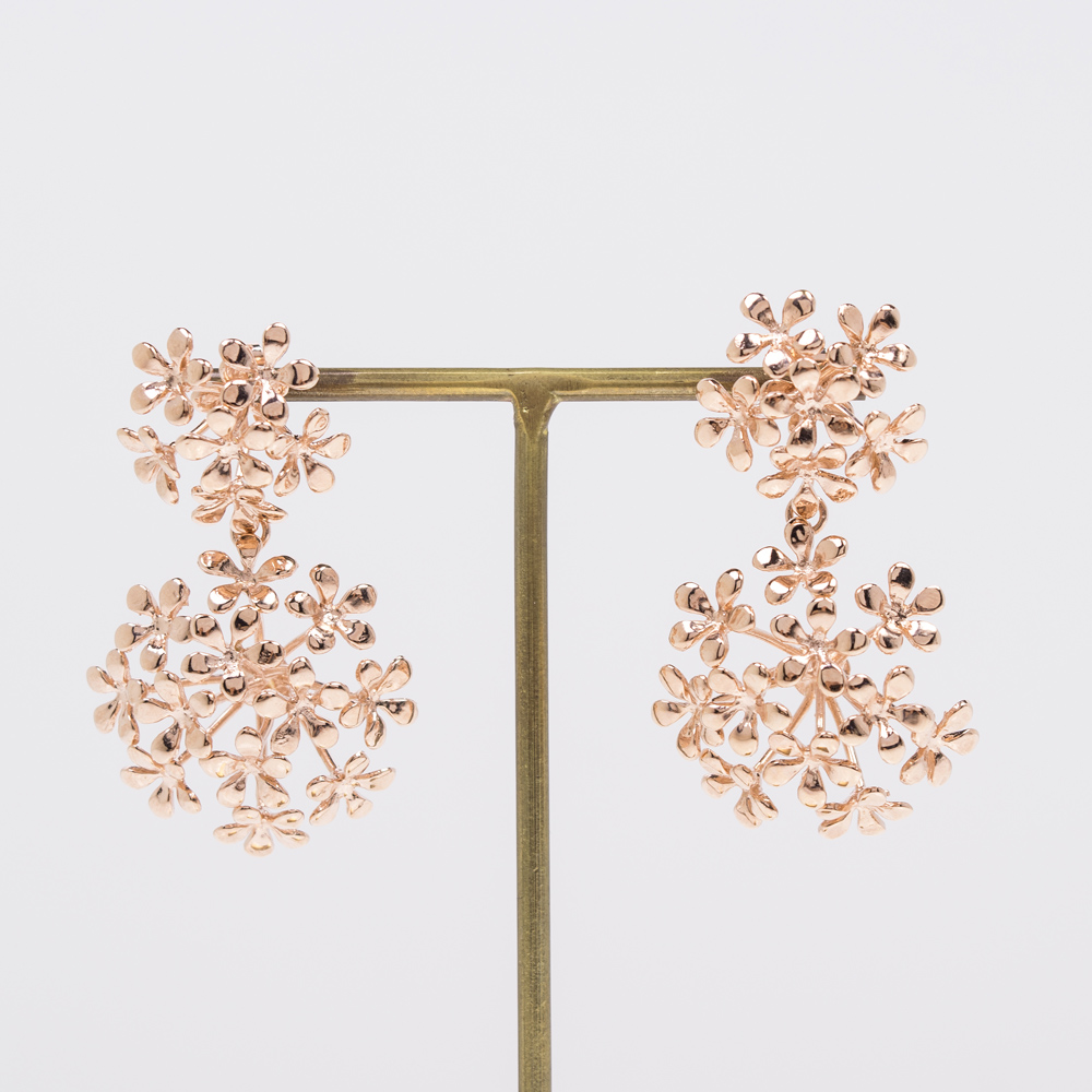 小さな可愛らしいお花でトピアリーをデザインしたようなイヤリング&ピアス